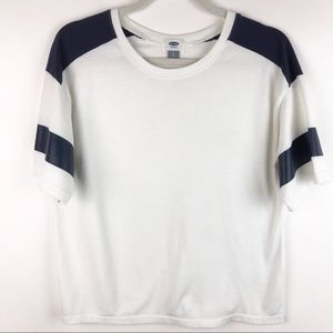 Old Navy White Jersey Style Tee Shirt Blue Stripes